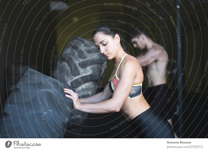 Sport class with wheels in gym room with tire training Woman Human being Man Relaxation Lifestyle Adults Sports Couple Power Action Fitness Club Disco Effort
