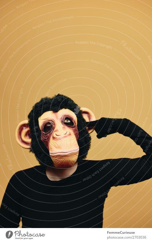 Human being Animal Joy Yellow Fingers Ear Mask Pelt Carnival Boredom Carnival costume Dreamily Monkeys Evolution Drill
