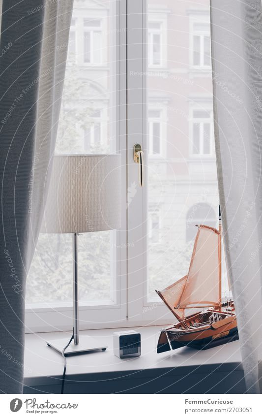Window sill with decoration and curtains House (Residential Structure) Living or residing Bedroom Living room Office Drape White Model ship Watercraft