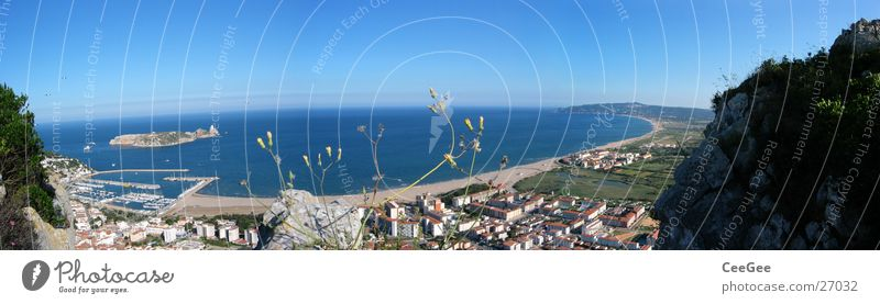 Water Ocean Blue City Beach House (Residential Structure) Grass Building Coast Large Rock Island Village Bay Spain Panorama (Format)
