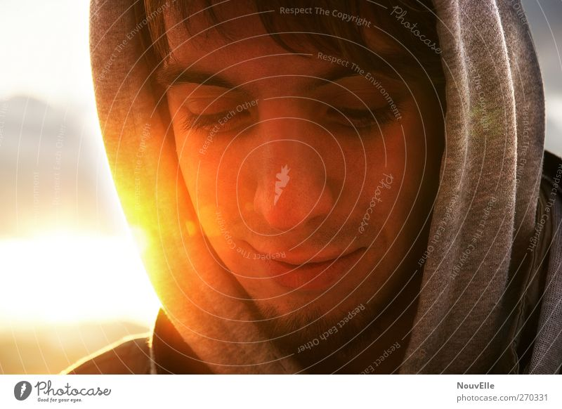 Human being Youth (Young adults) Calm Adults Happy Moody Contentment Masculine Young man 18 - 30 years Trust Serene Brunette Infatuation Caution Hooded sweater