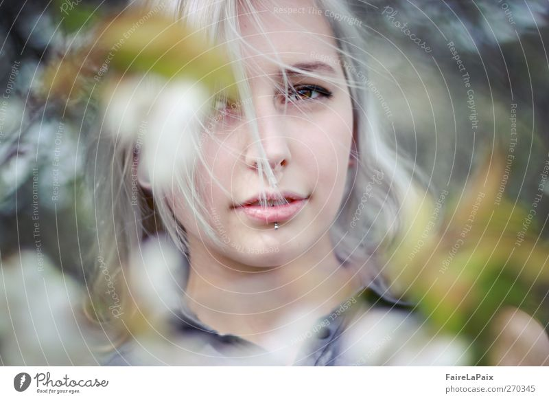 spring awakening Feminine Young woman Youth (Young adults) 1 Human being Nature Plant Spring Tree Leaf Blossom Garden Piercing Blonde White-haired Long-haired