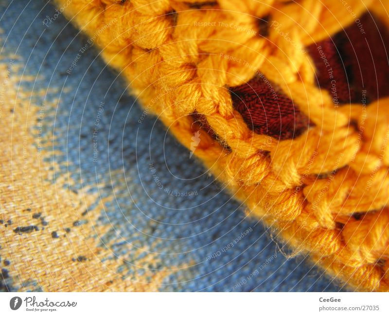 cushions Cushion Thread Yellow Cloth Wool Woven Soft Cuddly Living or residing Orange Blue Macro (Extreme close-up) Close-up