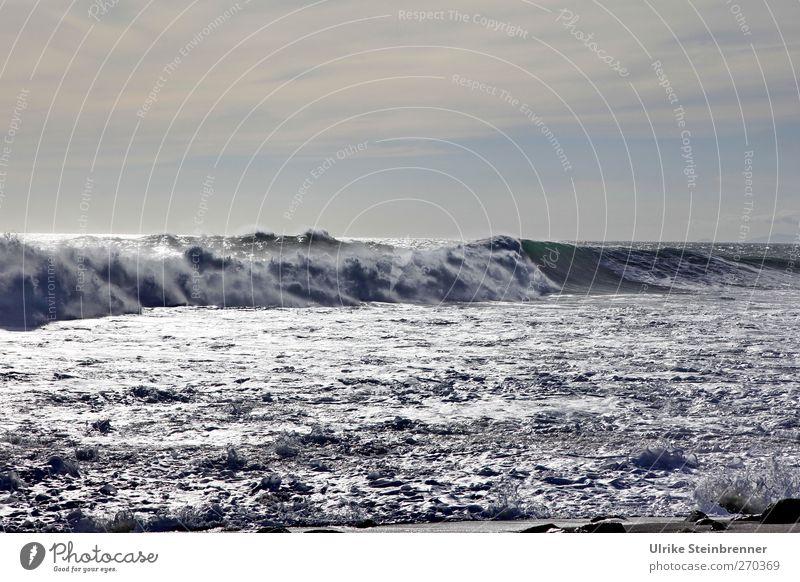 Crusher III Vacation & Travel Tourism Ocean Waves Environment Nature Water Clouds Spring Beautiful weather Coast Atlantic Ocean Island Fuerteventura Spain