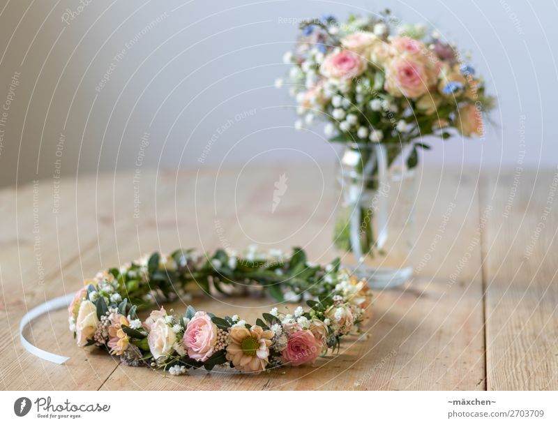 Bridal Bouquet I Plant Flower Grass Bushes Leaf Blossom Jewellery Flower wreath Wreath Fragrance Beautiful Natural Blue Multicoloured Yellow Green Orange Pink