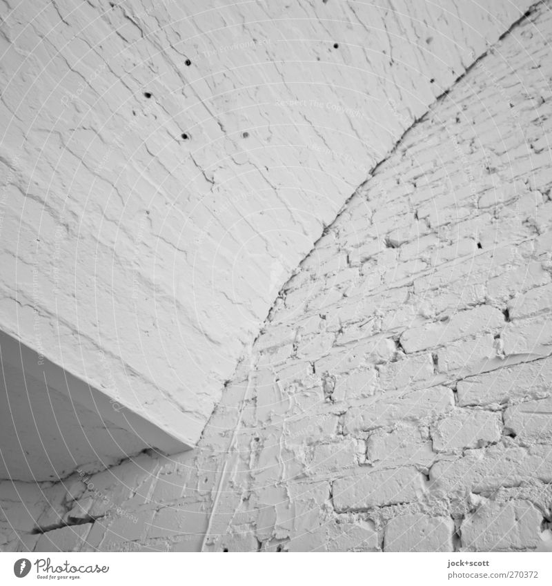 white no white wall Architecture Wall (building) Sharp-edged Simple Retro White Orderliness Cleanliness Brick Surface structure Seam Diagonal Repaired