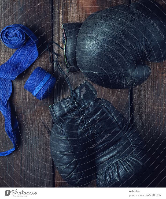 pair of very old black leather boxing gloves Old Blue Black Lifestyle Wood Sports Brown Retro Action Success Fitness Rope Protection Ring Ancient Competition