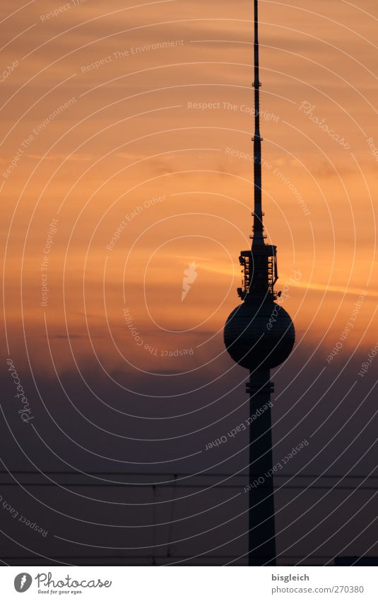Alex in the evening Berlin Federal eagle Europe Capital city Tower Tourist Attraction Landmark Berlin TV Tower Alexanderplatz Orange Black Dusk Colour photo