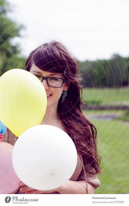 Human being Woman Youth (Young adults) Beautiful Summer Joy Adults Meadow Feminine Young woman Friendship Park 18 - 30 years Birthday Trip Balloon