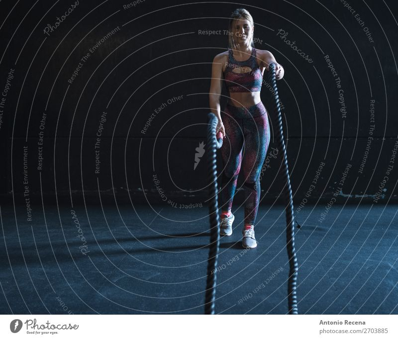 Rope girl Woman Adults Sports Copy Space Leisure and hobbies Body Power Stand Action Fitness Energy Athletic Effort Earnest 1 Person