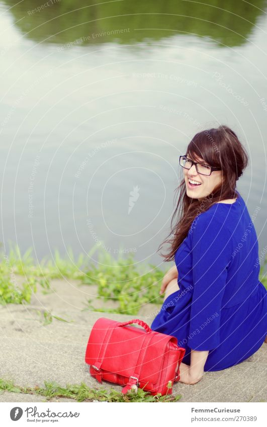 Human being Woman Nature Youth (Young adults) Blue Beautiful Red Summer Joy Adults Feminine Freedom Laughter Lake Funny Young woman