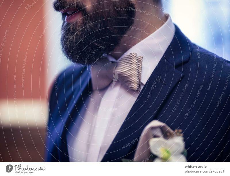 bridegroom Man Adults Love Bride groom Husband Suit Bow tie Flower Blue Dark Matrimony Facial hair Evening wear Colour photo