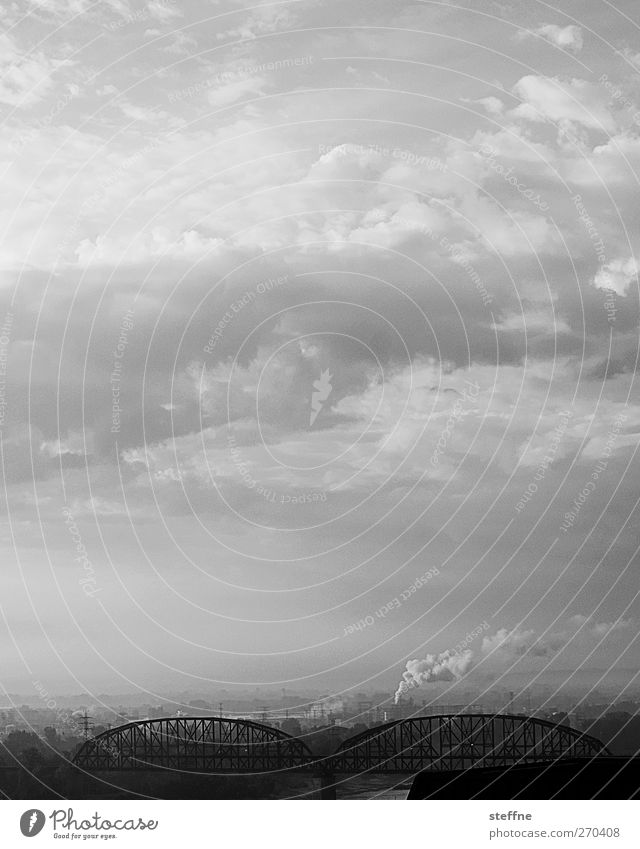 Ascension Environment Sky Clouds USA Town Skyline Environmental pollution Black & white photo Exterior shot St. Louis Copy Space top Copy Space middle