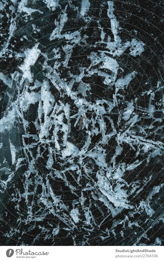 Frosty pattern on ice Beautiful Ocean Winter Snow Nature Glacier Lake River Crystal Ornament Freeze Dark Natural Gray Black White Frozen background Consistency