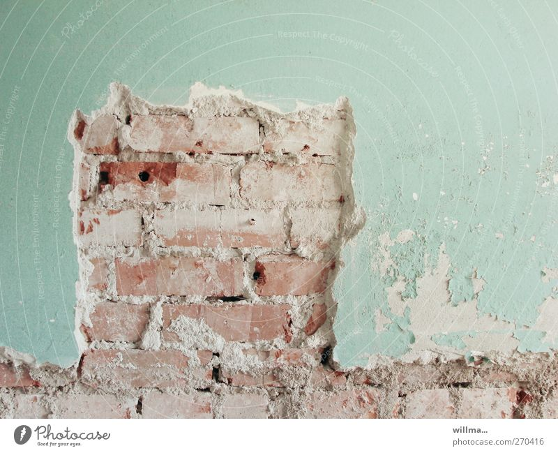 Wall (building) Wall (barrier) Facade Broken Change Construction site Transience Derelict Brick Decline Turquoise Plaster Chimney Redecorate Flake off Redevelop