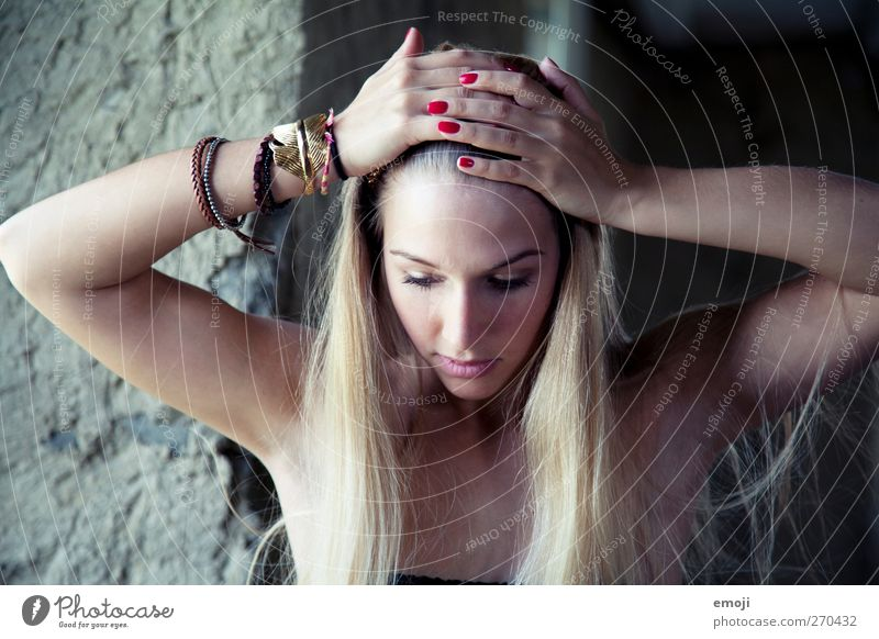 Human being Youth (Young adults) Hand Beautiful Adults Face Cold Feminine Head Young woman Blonde 18 - 30 years Beauty Photography Long-haired