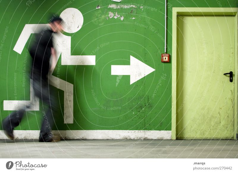 Green Wall (building) Movement Wall (barrier) Door Exceptional Speed Target Individual Sign Arrow Running Direction Escape Rescue Haste