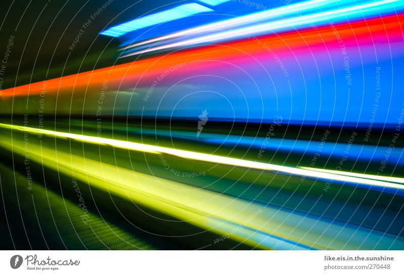 swoooosh Deserted Means of transport Airport Escalator Illuminate Speed Stripe Red Yellow Blue Background picture Neon Neon strip Neon blue Neon lamp