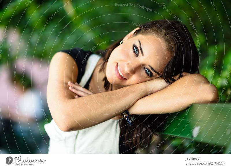 Happy young woman with blue eyes looking at camera Style Beautiful Hair and hairstyles Summer Human being Feminine Young woman Youth (Young adults) Woman Adults