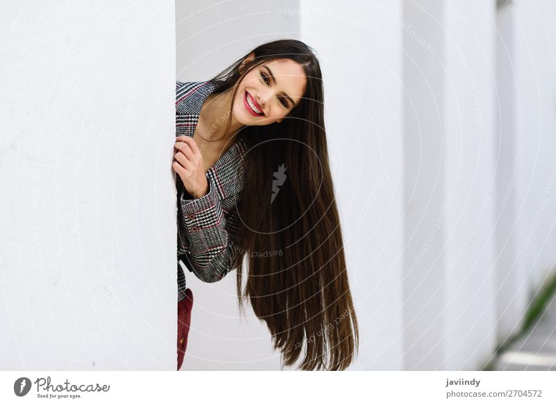 Young beautiful girl with very long hair smiling at camera Lifestyle Style Beautiful Hair and hairstyles Winter Human being Feminine Young woman