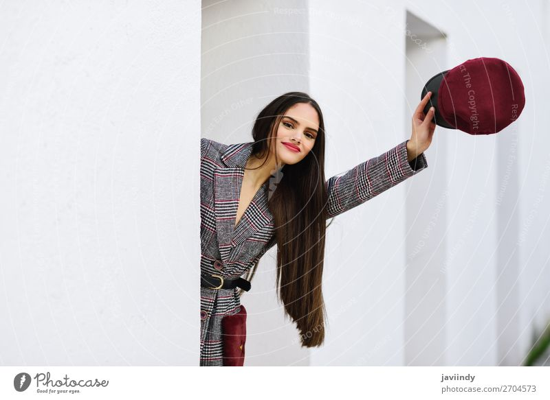 Young beautiful girl with very long hair looking at camera Lifestyle Style Beautiful Hair and hairstyles Winter Human being Feminine Young woman
