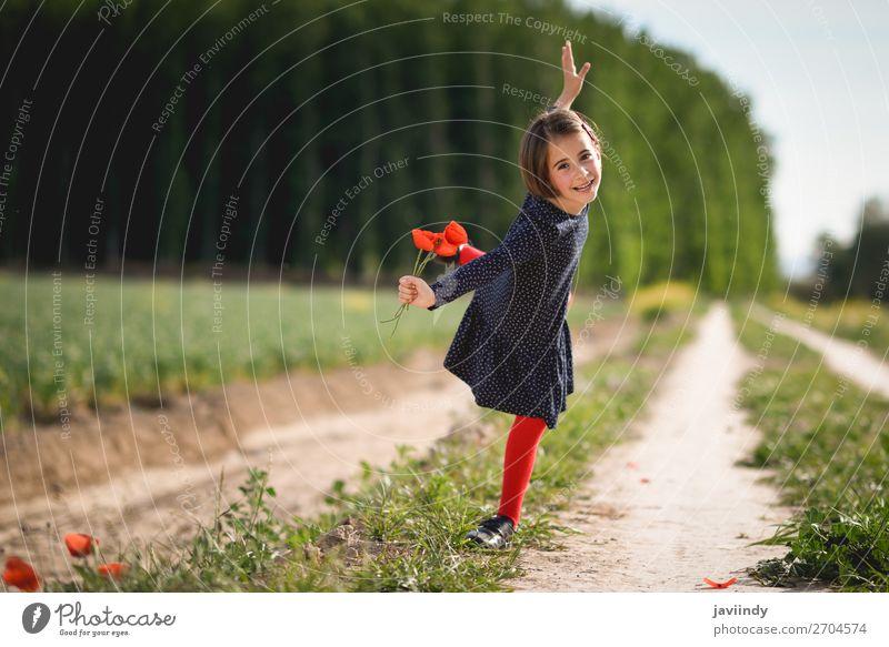 Little girl walking in nature field wearing beautiful dress Lifestyle Joy Summer Child Human being Feminine Girl Woman Adults Infancy 1 3 - 8 years Nature