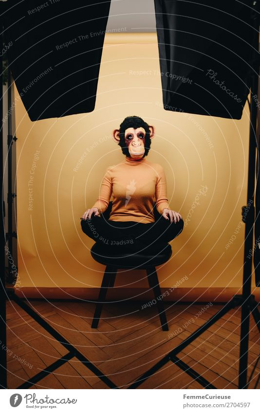 Woman with monkey mask sitting in photo studio Feminine Adults 1 Human being 18 - 30 years Youth (Young adults) 30 - 45 years Joy Photographic studio