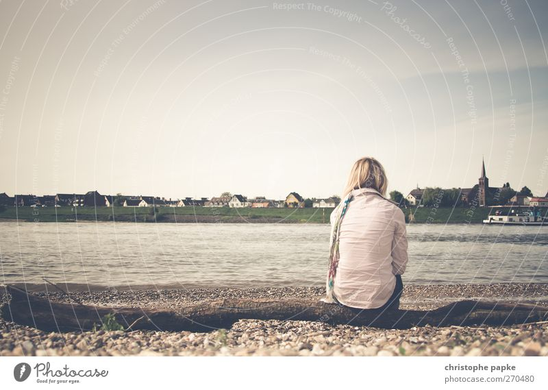 Human being Youth (Young adults) Loneliness Calm Adults Relaxation Feminine Coast Sadness Think Young woman Sit Elegant 18 - 30 years Retro River bank