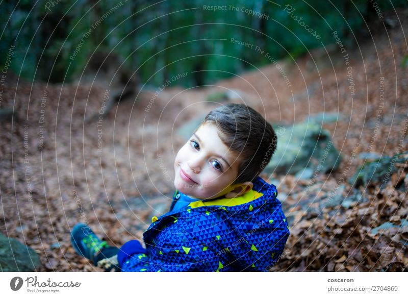 Portrait of a young boy in a forest Lifestyle Joy Happy Beautiful Playing Vacation & Travel Winter Mountain Hiking Garden Child Baby Toddler Boy (child)
