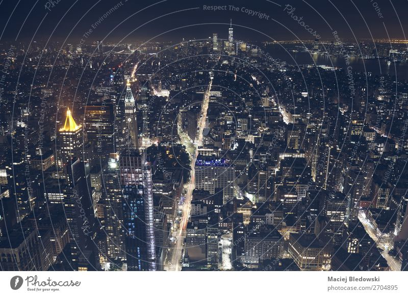 Aerial view of New York City at night, USA. Shopping Luxury Office Town Downtown Skyline High-rise Building Architecture Street Uniqueness Elegant Success