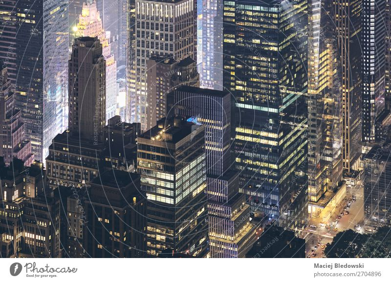 Aerial view of New York City modern buildings at night. Work and employment Workplace Office Town Downtown High-rise Building Architecture Street Modern