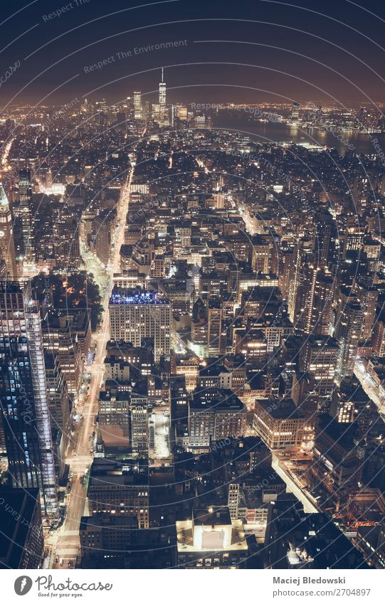 Aerial view of New York City at night, USA. Town Street Architecture Building Exceptional Office Horizon Vantage point High-rise Elegant Success Shopping