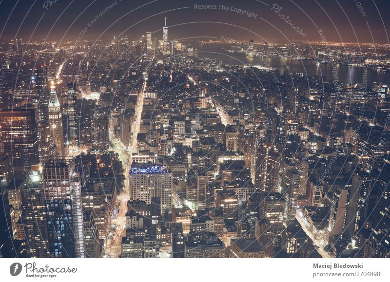 Aerial view of New York City at night, USA. Lifestyle Shopping Luxury Elegant Vacation & Travel Tourism Sightseeing City trip Office Town Skyline High-rise