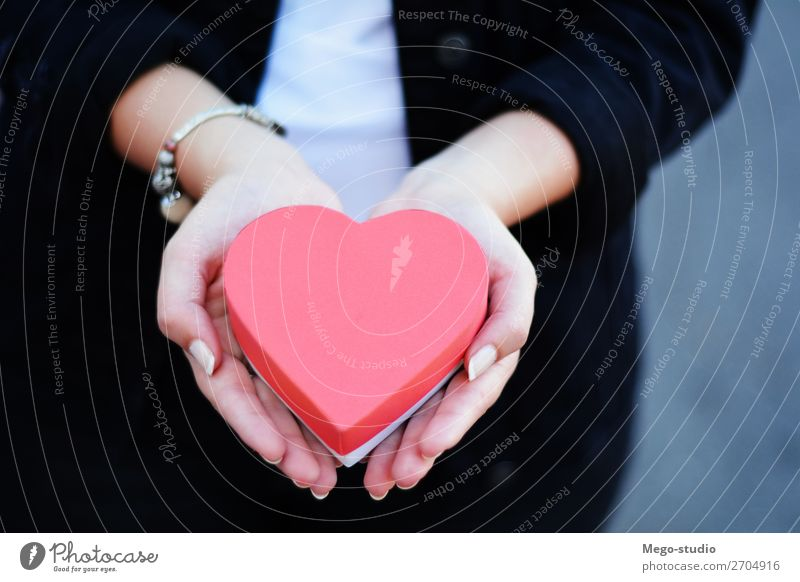 Female hands holding heart shaped gift box. Woman Human being Man Christmas & Advent Colour Beautiful Red Hand Adults Love Happy Feasts & Celebrations