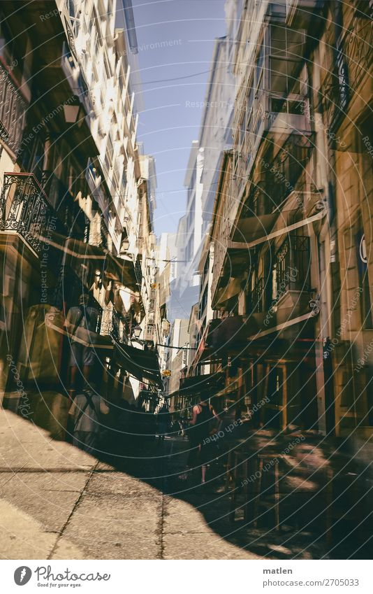 canyon Human being Town House (Residential Structure) Wall (barrier) Wall (building) Facade Balcony Street Dark Blue Brown White Store premises Double exposure