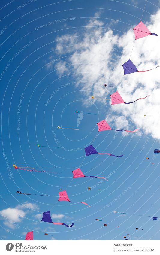 #AS# Wind dancer Art Esthetic Freedom Dragon Kite Hang gliding Kite festival Summer Fuerteventura Sky Flying Many Colour photo Multicoloured Exterior shot