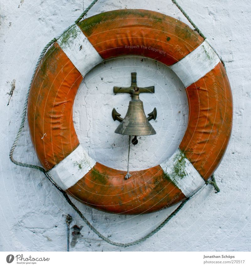Rescue of the bell Navigation Cruise liner Ferry Watercraft Harbour Yacht harbour Anchor Red White Life belt Rescue equipment Bell Ship's bell Lifesaving Circle