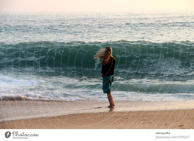 Young woman and Atlantic Ocean Lifestyle Vacation & Travel Tourism Adventure Far-off places Freedom Summer Summer vacation Beach Waves Human being Feminine