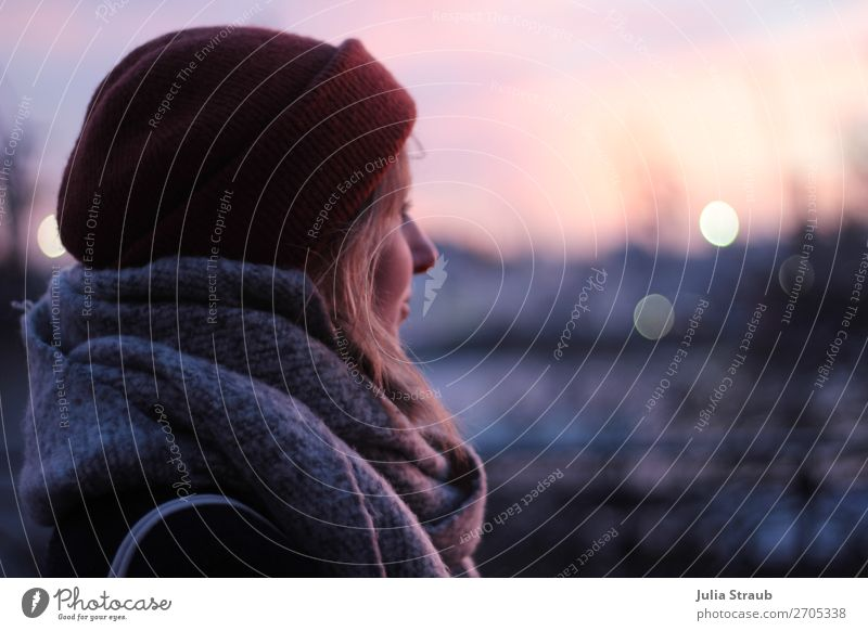 Woman Human being Youth (Young adults) Landscape Loneliness 18 - 30 years Adults Feminine Pink Stand Observe Longing Wanderlust Desire Dusk Cap