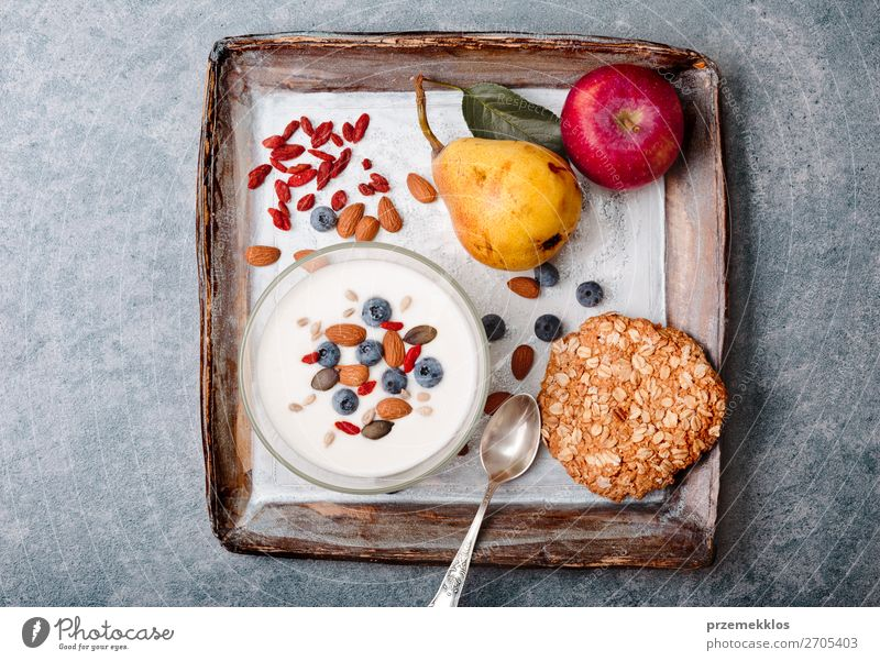 Breakfast on table. Yogurt with added blueberries and almonds Healthy Eating Food Lifestyle Natural Stone Fruit Above Nutrition Fresh Vantage point Table