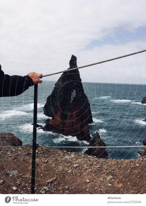 Landscape Hand Ocean Clouds Coast Stone Rock Sand Horizon Waves Island Stand Arm Fingers Barrier