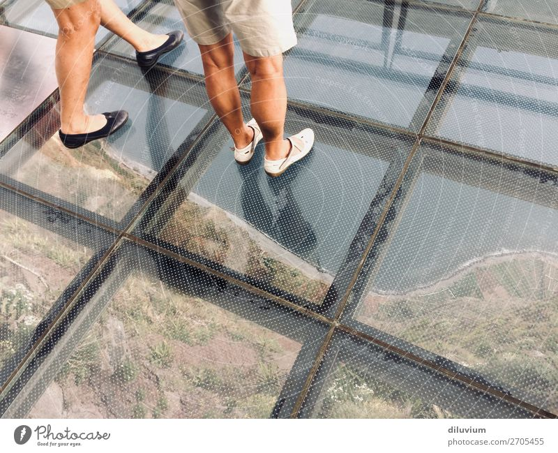 deep view Human being Feminine Legs Feet 2 Landscape Coast Cabo Girao Madeira Footwear glass bottom Looking Fear of heights Colour photo Exterior shot