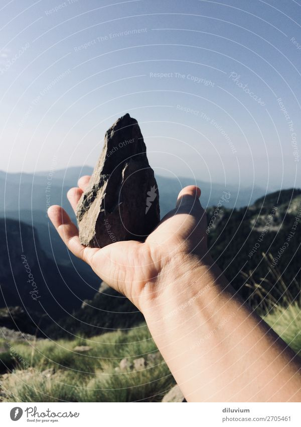 suiseki Hiking Mountain Arm Hand Fingers 1 Human being 18 - 30 years Youth (Young adults) Adults Nature Landscape Cloudless sky Horizon Alps Stone To hold on