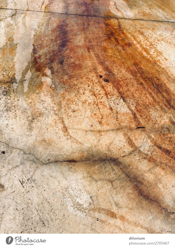 ferrous stains Floor covering Stone Metal Water Ground Crack & Rip & Tear Patch Iron Dirty Broken Wet Orange Red Colour photo Exterior shot Pattern