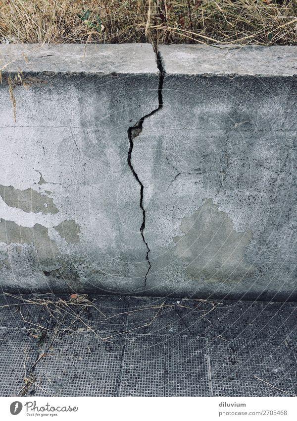 fragment Grass Wall (barrier) Wall (building) Floor covering Stone Asphalt Crack & Rip & Tear Broken Gray Decline Change Colour photo Subdued colour