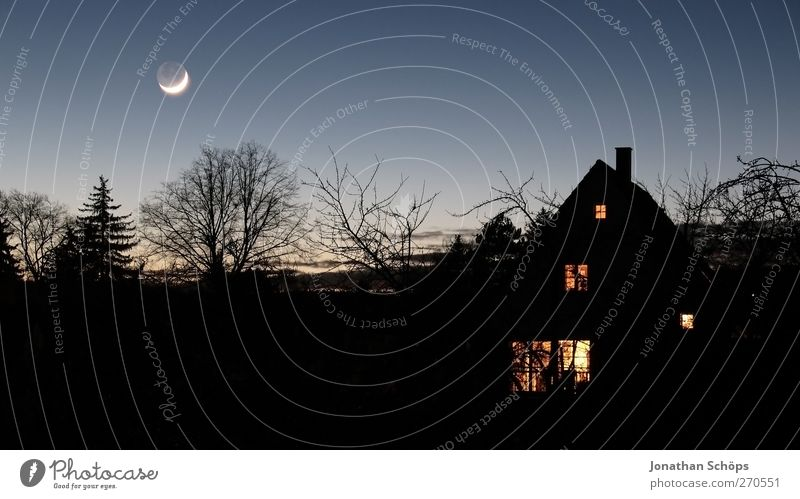 Dark it was, the moon shone brightly Sky Cloudless sky Night sky House (Residential Structure) Detached house Exceptional Threat Creepy Violet Black Fear
