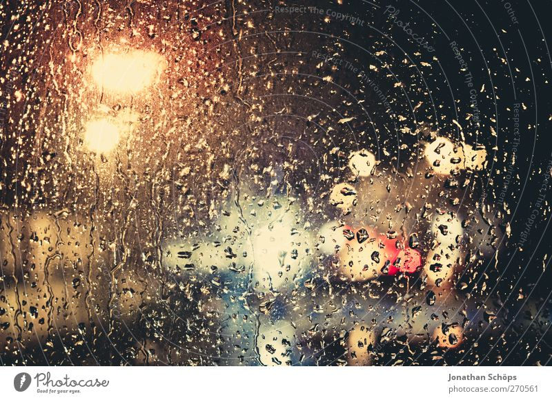 Rain drums at my window I Climate Bad weather Storm Transport Car Esthetic Emotions Romance Calm Sadness Concern Grief Window pane Multicoloured Drops of water