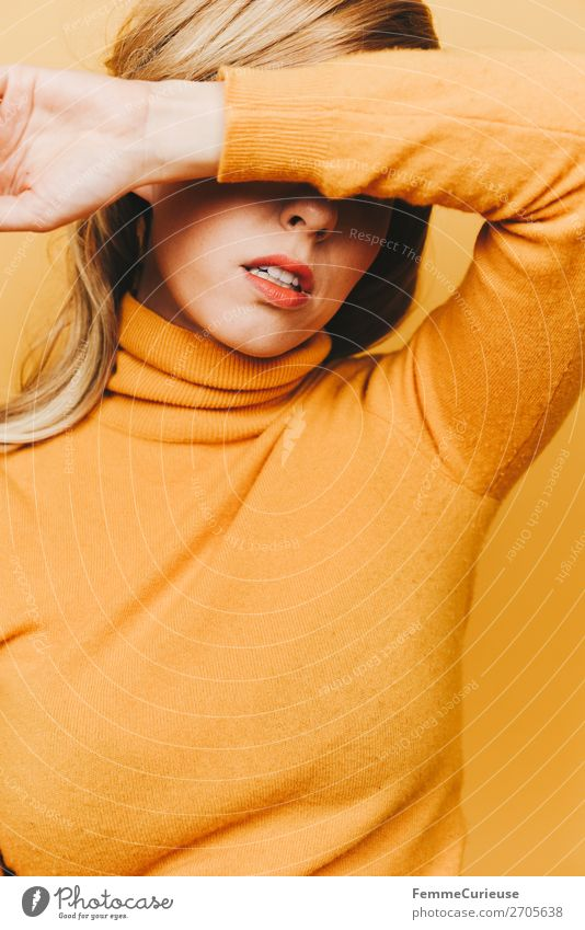 Blonde woman with yellow woollen sweater Lifestyle Elegant Style Feminine Woman Adults 1 Human being 18 - 30 years Youth (Young adults) 30 - 45 years Creativity