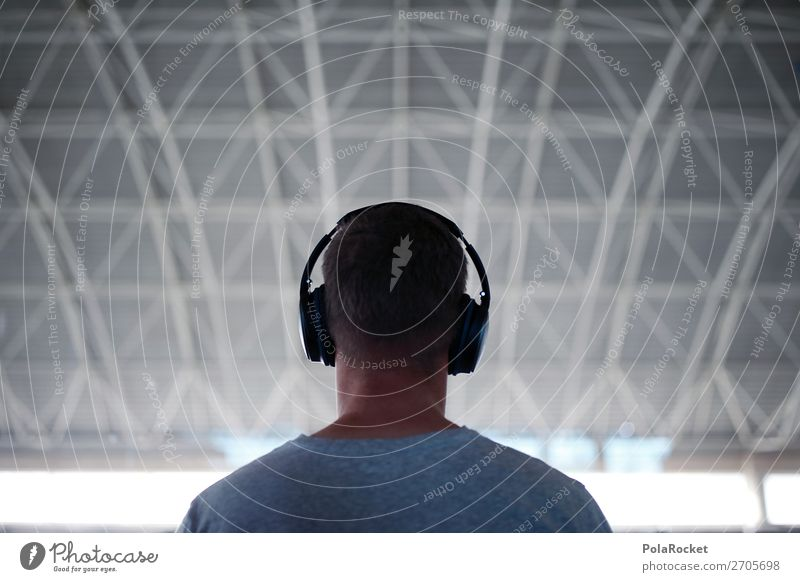 #AS# Sound 1 Human being Esthetic Headphones Listening Music Listen to music Wait Airport Youth culture Man Masculine Colour photo Subdued colour Interior shot