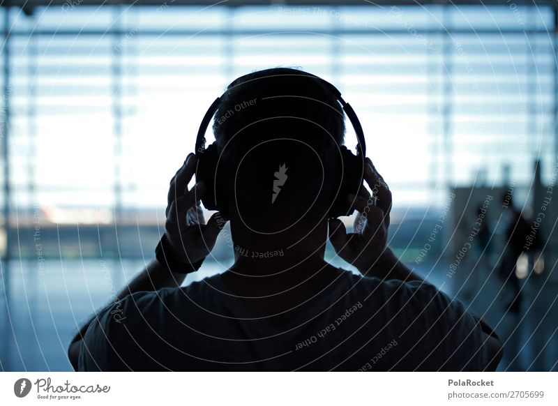 #AS# NOISE Art Esthetic Airport Concourse Departure lounge Headphones Crash Volume Music Listen to music Silhouette Wait Calm Colour photo Subdued colour